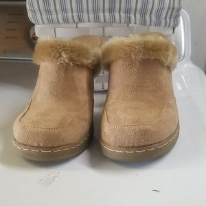 Tan faux suede fur mules with heel.